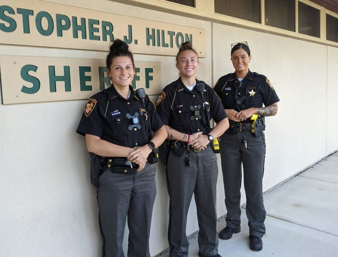 Recently hired road deputies Brooke Schiets, left, Kalin Widman, and Hannah Dorsey represent a change in policing in Sandusky County as they are most female road deputies the agency has ever had at one time.