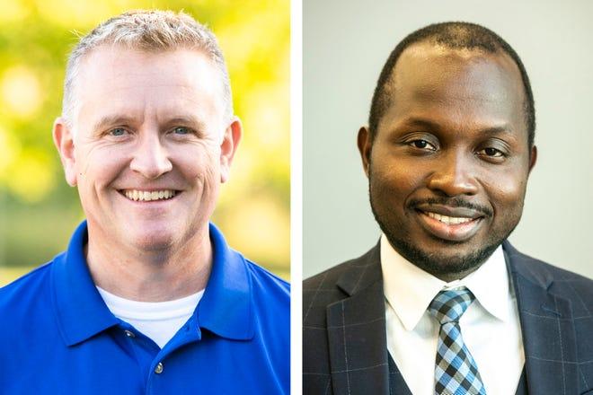 North Liberty mayor candidates Chris Hoffman, left, and Mike Mbanza.