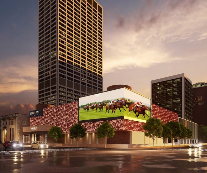 An exterior rendering of Churchill Downs' planned Derby City Gaming Downtown venue to open in Louisville. Sept. 30, 2021