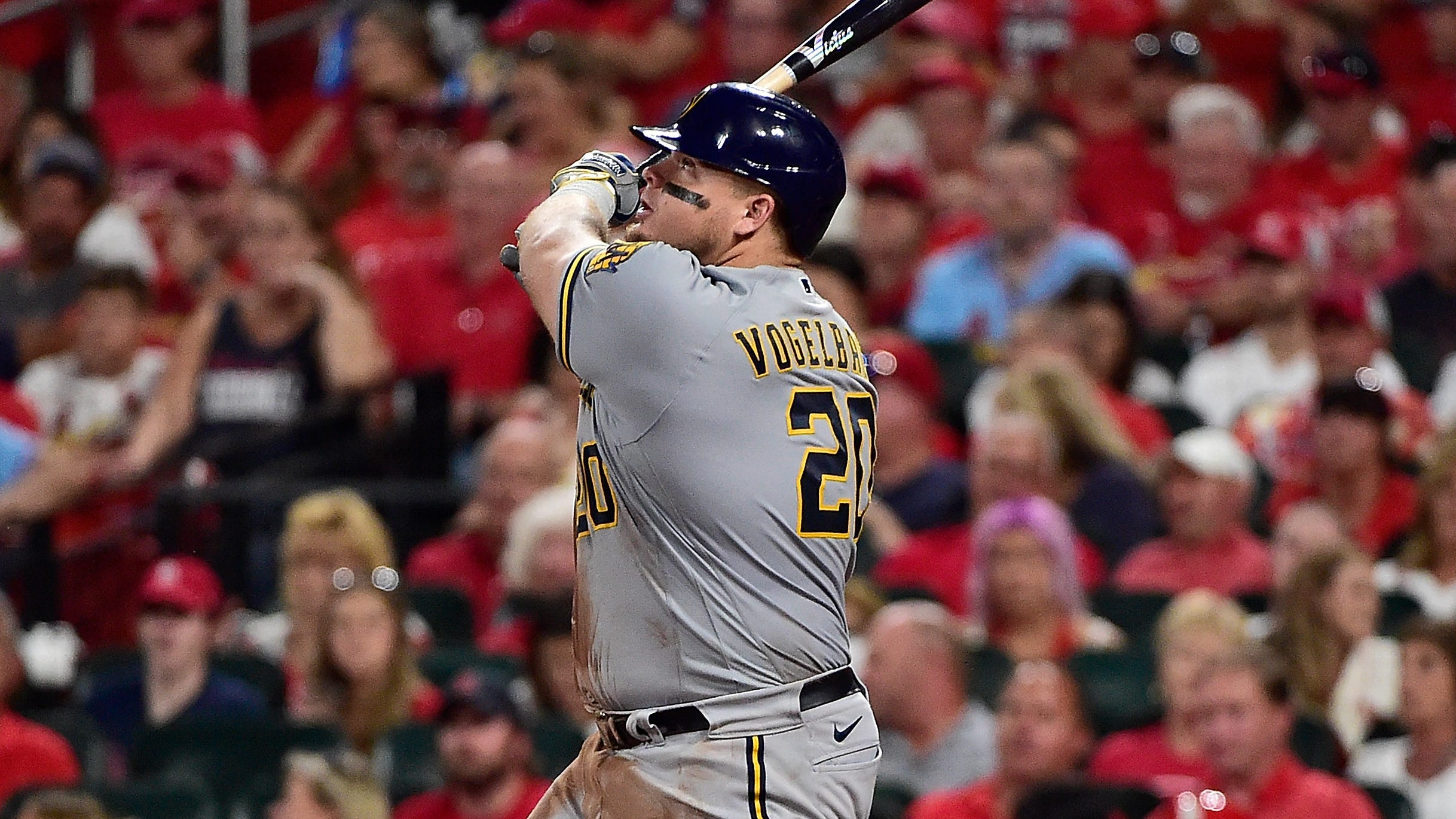 Daniel Vogelbach hits a two-run home run during the sixth inning against the St. Louis Cardinals.