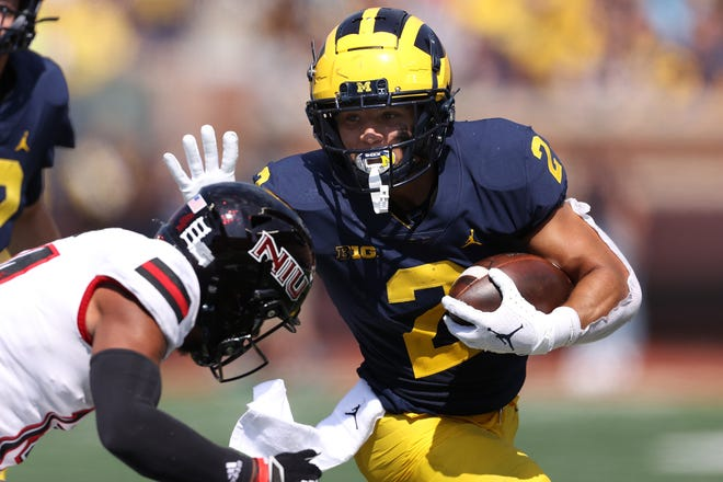 Michigan running back Blake Corum has averaged 118.0 yards rushing and scored touchdowns in four games but may face his toughest challenge Saturday at Wisconsin.