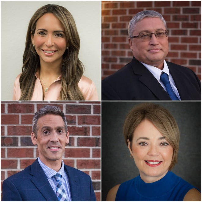 From left to right: Scarlett Johnson, Kris Kittell, Charles Lorenz and Cheryle Rebholz were announced as candidates for the Nov. 2 Mequon-Thiensville School Board recall election. They will be running for the seats currently held by Wendy Francour, Erik Hollander, Akram Khan and Chris Schultz.