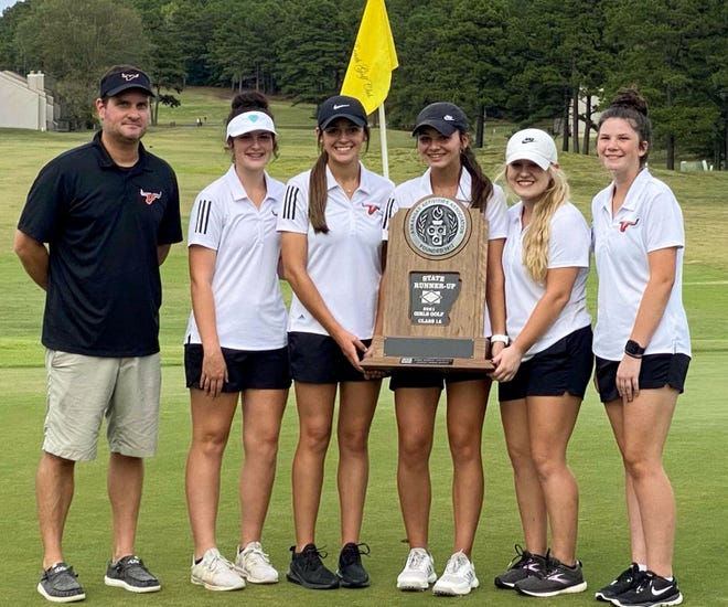 The Viola girls golf team finished as state runner-up on Wednesday. Members of the team are: (from left) coach Jason Hughes, Kailey Hallmark, Trenity Sherrill, AJ McCandlis, Kennedy Renfro and Sayde Waltrip.