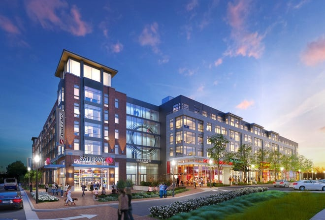 This artist's rendering shows the concept of a mixed-use building in Glenbrook Village. The neighborhood will offer a combination of suburban and urban amenities.