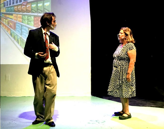 """Jamie Bronstein, right, and Brad Martinez star in The No Strings Theatre Company's production of """"Laughing Wild"""" at The Black Box Theatre in Las Cruces."""