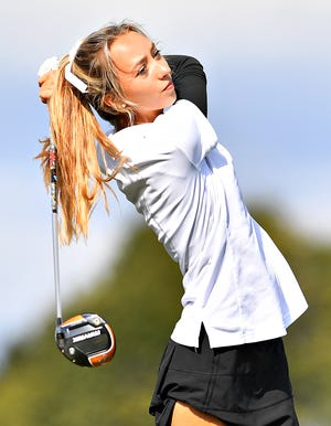 Dallastown's Makensy Knaub tees off during the YAIAA Individual Golf Championship at Briarwood Golf Club in West Manchester Township, Thursday, Sept. 30, 2021. Dawn J. Sagert photo