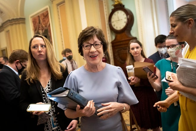 Sen. Susan Collins (R-Maine) walks to the Senate floor after speaking to reporters after meeting privately with Senate Minority Leader Mitch McConnell (R-Kentucky) at the U.S. Capitol on July 28, 2021 in Washington, D.C. (Drew Angerer/Getty Images/TNS)