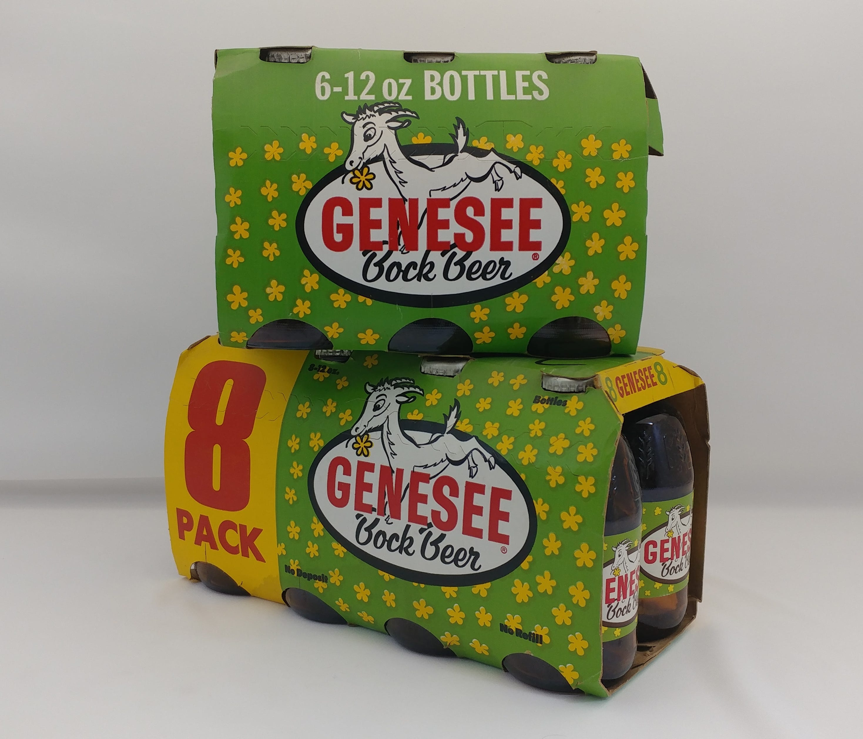 Genesee Bock packages and bottles from the late 1970s and the early 1980s.