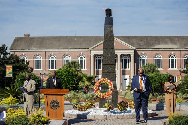 Florida A&M University President Larry Robinson leads a responsive reading for those in attendance for FAMU Founder's Day on Thursday, Sept. 30, 2021.