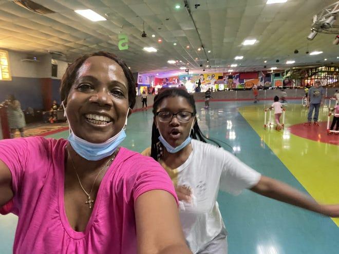 Rosalind and granddaughter Tayla at skating rink this summer.