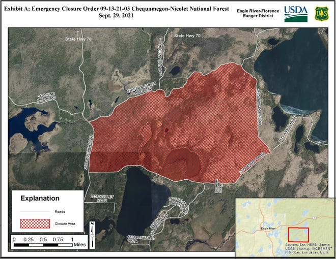 This map shows the area of the national forest closed to the public while authorities investigate a plane crash site where three people are believed dead.