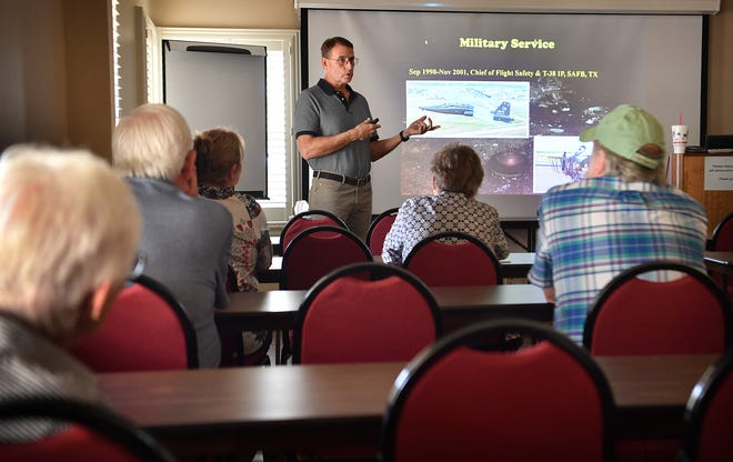 Lt Col (ret) Bill Smith talks about his Air Force career as a flight safety investigator during a class at the Lifelong Learning Center at Midwestern State University. The center has reopened with in-person classes.