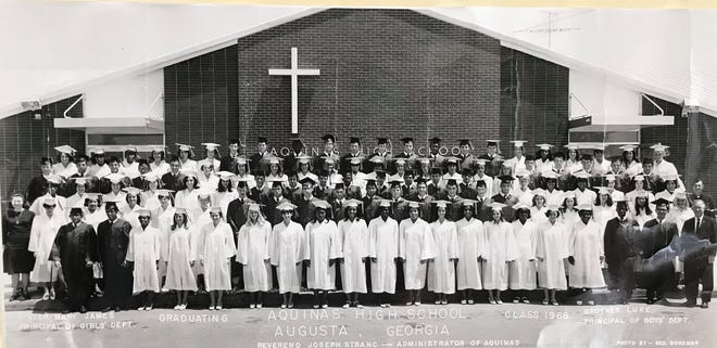 Aquinas High School's graduating class of 1968 was comprised of its own predominantly white students as well as new Black students that were adopted from the closed high school portion of Immaculate Conception Academy.