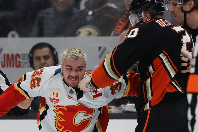 Center Zac Rinaldo played sparingly for the Calgary Flames last year and signed with the Blue Jackets this offseason.