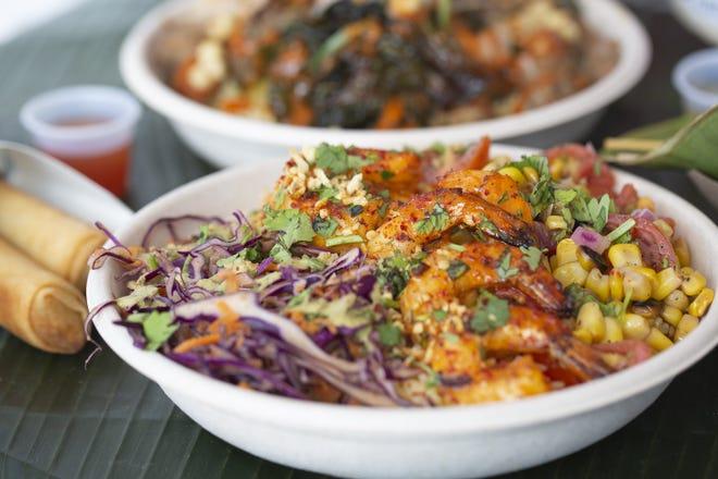 Chile-garlic shrimp bowl with lumpia at Boni Filipino Street Food in the Budd Dairy Food Hall