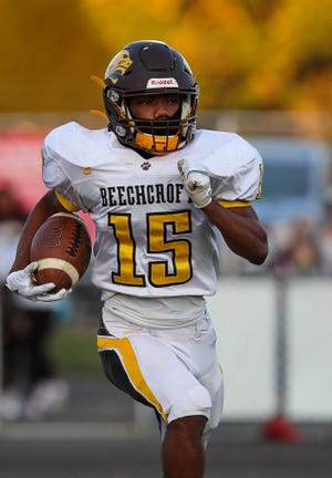 Diante Latham intercepted two passes as Beechcroft built a 26-14, fourth-quarter lead over Linden-McKinley on Sept. 30. The game was suspended with 4:50 to play and was completed Oct. 2, with Beechcroft winning 28-14.