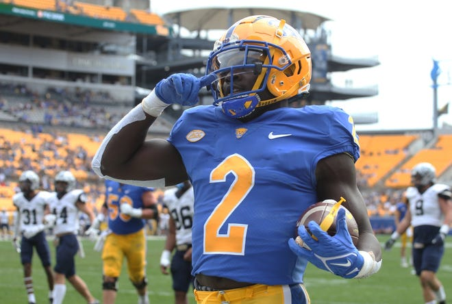 Sep 25, 2021; Pittsburgh, Pennsylvania, USA;  Pittsburgh Panthers running back Israel Abanikanda (2) reacts after scoring a touchdown against the New Hampshire Wildcats during the first quarter at Heinz Field. Mandatory Credit: Charles LeClaire-USA TODAY Sports
