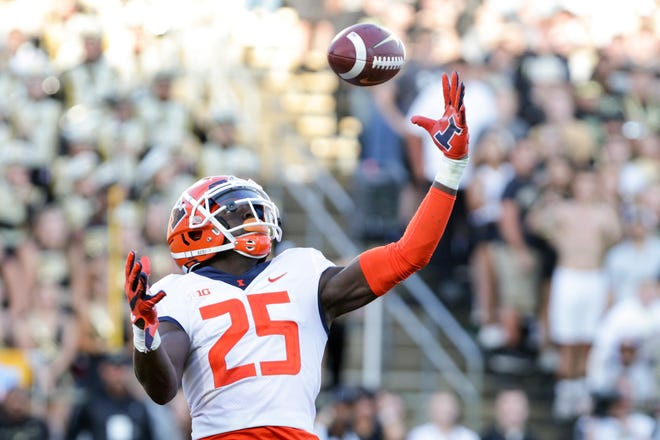 Illinois defensive back Kerby Joseph (25) intercepts the ball in the end zone during the third quarter of a game against Purdue Saturday, Sept. 25 in West Lafayette, Ind.