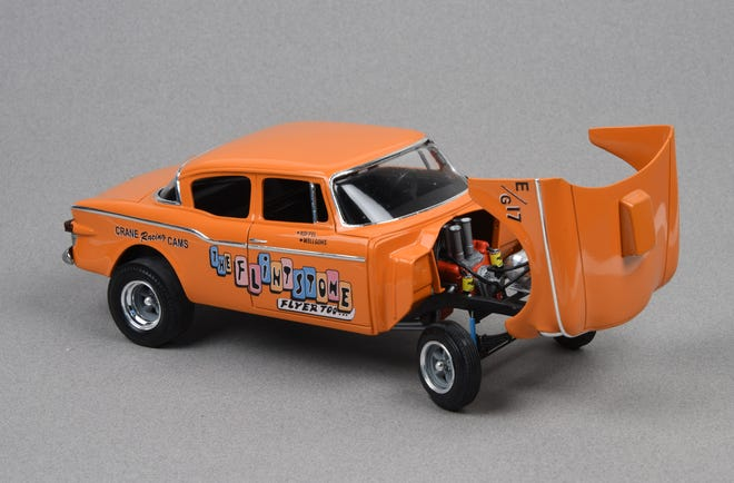 """The 1960 Lark, entitled the """"Flintstone Flyer,"""" was the 2019 winner of the Stark Scale Modelers Club's model contest. It is a replica of a racing vehicle that won many races on local race tracks in the 1960s and 70s. The 1/25 scale model was built by club member Karl Bates of East Canton."""