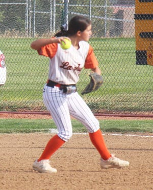 La Junta High School second baseman Lexi Nunez-Rebel throws out a Dolores Huerta Prep runner in the game played Sept. 30 at Tippy Martinez Park. The Tigers defeated the Scorpions 6-5.