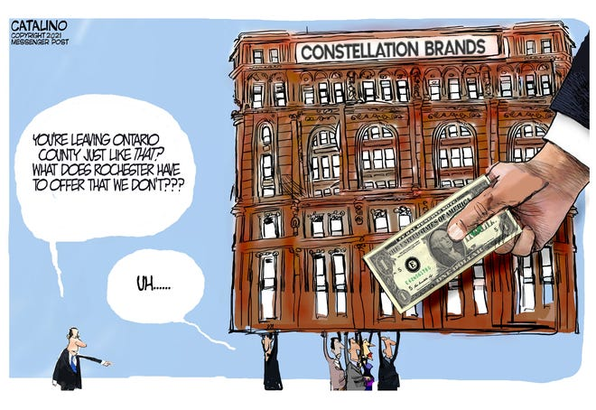 Local cartoonist Ken Catalino on the move of Constellation Brands from Victor to Rochester.