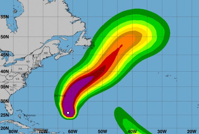 Hurricane Sam is projected to pass well east of New England but still generate strong surf.