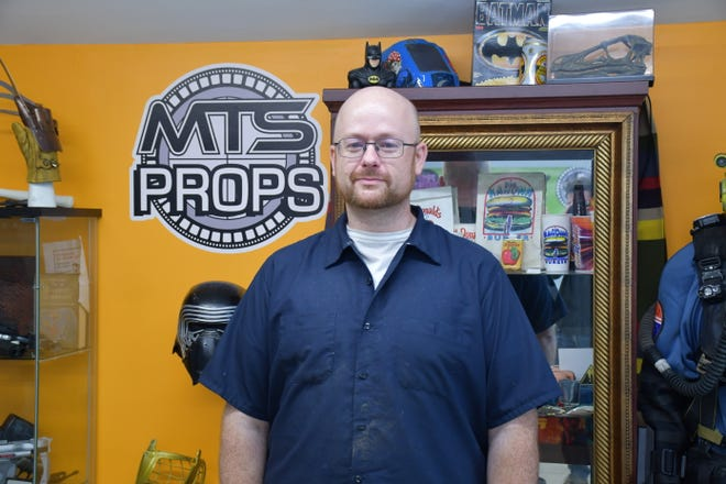 Michael Corrie at his film prop workshop and studio space in Indianapolis.