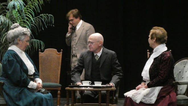 """This scene from """"Arsenic and Old Lace"""" shows, from left, Laurie McCoy (as Abby Brewster), AJ Gersch (Mortimer Brewster), Michael Coulter (Mr. Gibbs) and Felicia Coulter (Martha Brewster)."""