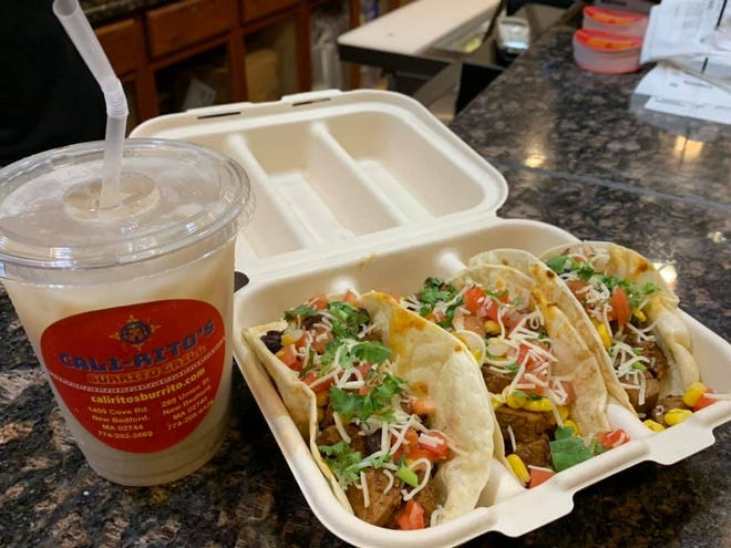Tacos available at Cali-Ritos Burrito Grill in New Bedford.