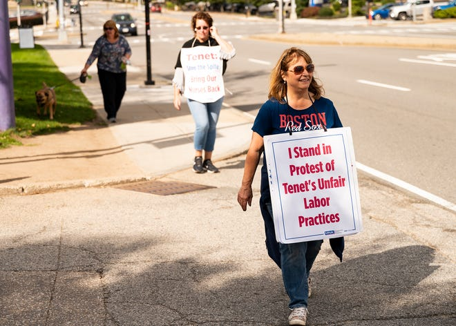 Diane Smoot continues on the St. Vincent nurses picket line on Friday.