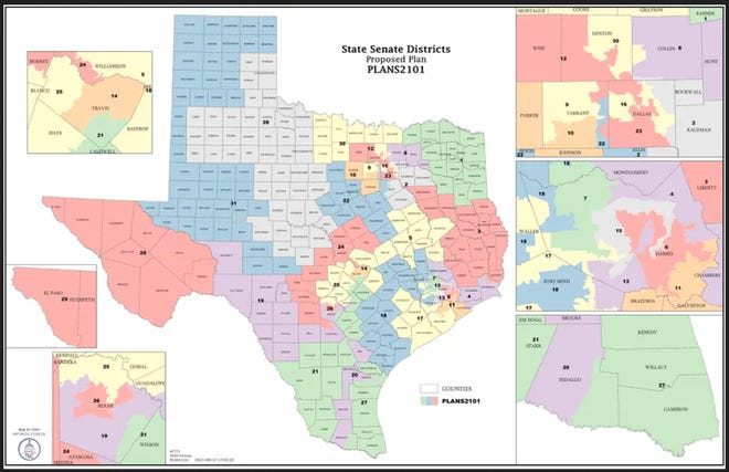 A proposed first draft of a redistricting plan for the state's Senate seats. The Texas Legislature is in special session in Austin to redraw the political map using new 2020 U.S. Census figures.
