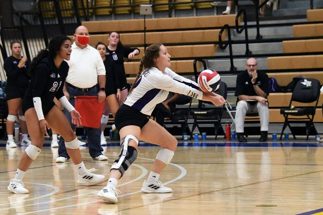 SAGU freshman libero Tessa Glick receives a serve during the Lions' match against Texas Wesleyan University on Tuesday night. TWU won the match in five sets.