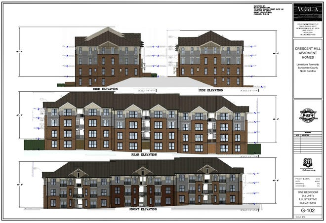 Elevations included with plans for Crescent Hill Apartments show one of 10 planned residential buildings totaling 252 units along Crescent Hill Road in Arden.