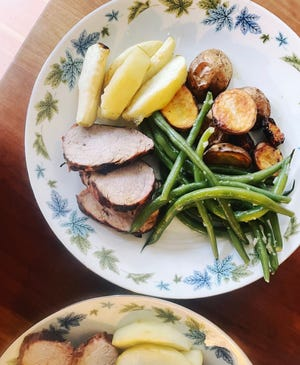 Grilled pork tenderloin with an apple flavor is a perfect transition to fall flavors.
