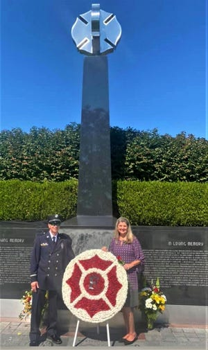 The late Covington Fire Lt. Dale Brown was honored at the Kentucky Fallen Firefighter Memorial in Frankfort this week. His wife, Jenny, and his co-worker, Lt. Jimmy Adams, attended the ceremony.