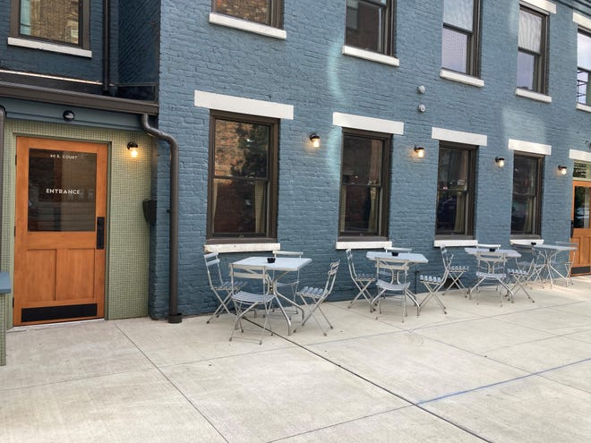 The exterior of Mid-City, a new bar and restaurant at Court Street Plaza.
