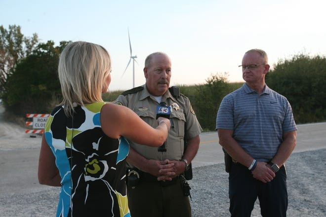 Poweshiek County Sheriff Thomas E. Kriegel speaking to reporters on Thursday, September 30, after the remains were found near Montezuma, the home of 11-year-old Xavior Harrelson, had been present since May 27. Criegel is Mitch Mortvedt, deputy director of the Iowa Division Criminal Investigation.