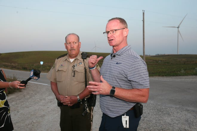 Mitch Mortvedt, deputy director of the Iowa Division of Criminal Investigation, speaking to reporters on Thursday, September 30, after the remains were found near Montezuma, the home of 11-year-old Xavior Harrelson, has been missing since May 27. President Thomas Kriegel.