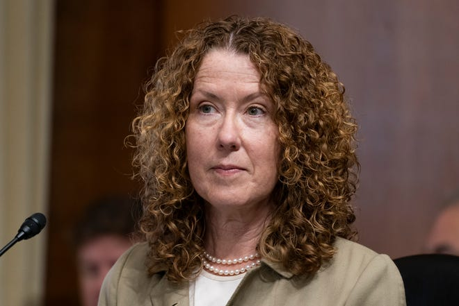 FILE - In this June 8, 2021, file photo, Tracy Stone-Manning listens during a confirmation hearing for her to be the director of the Bureau of Land Management, during a hearing of the Senate Energy and National Resources Committee on Capitol Hill in Washington.