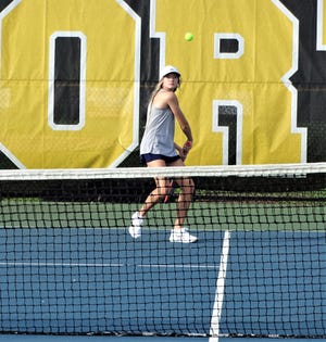 Lancaster's Scarlett Ward gets to return a shot Thursday against Westerville North during No. 2 doubles action. Ward won, 6-1, 6-0 and the Gales blanked the Warriors, 5-0.