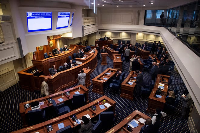 The senate votes on a series of prison construction bills at the Alabama State House in Montgomery, Ala., on Friday, Oct. 1, 2021.