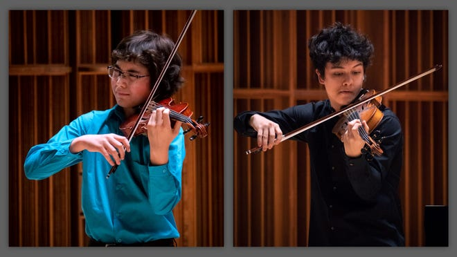 """Cooper Olsen (at left) and Phillip Hammond, the winners of Muncie Symphony Orchestra's 2020 Young Artist Competition, will perform with MSO in """"From the Top"""" on Saturday, Oct. 9 at Emens Auditorium."""