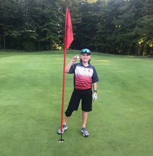 Utica eighth-grader Alex Wieber made a hole-in-one at The Links at Echo Springs on Tuesday, Sept. 28, 2021, during a middle school match against Johnstown.