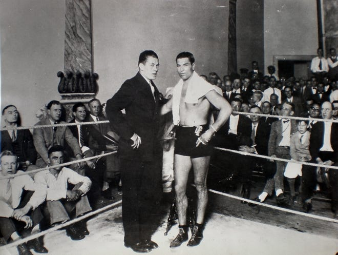 Heavyweight Champions of the World, Gene Tunney and Jack Dempsey in the late 1920s.