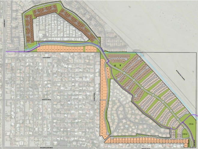 A map of the planned Serena Park development, which will build 386 homes on the former Palm Springs Country Club golf course.
