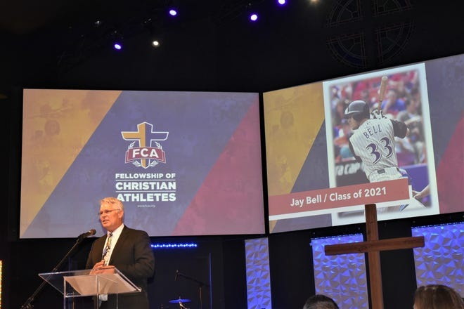 Jay Bell delivers induction speech Sept. 30 for his induction into the FCA Hall of Champions during ceremony at First Baptist Church Chipley Hall.