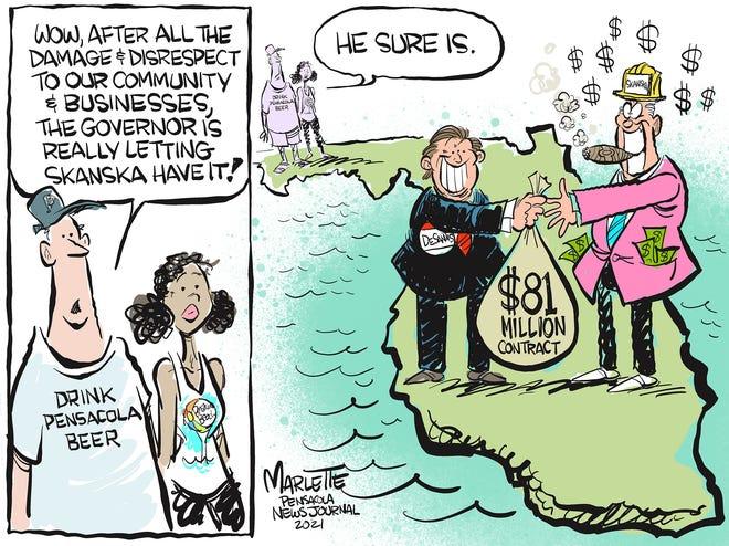 Marlette cartoon: DeSantis lets Skanska have it