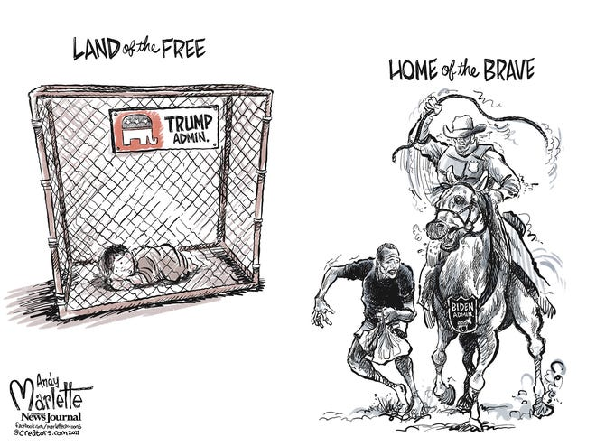"Marlette cartoon: Biden administration carries on Trump administration ""values"""