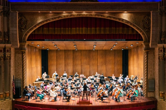 The Sheboygan Symphony Orchestra rehearses ahead of the Oct. 9 concert with conductor Rebecca Smithorn.