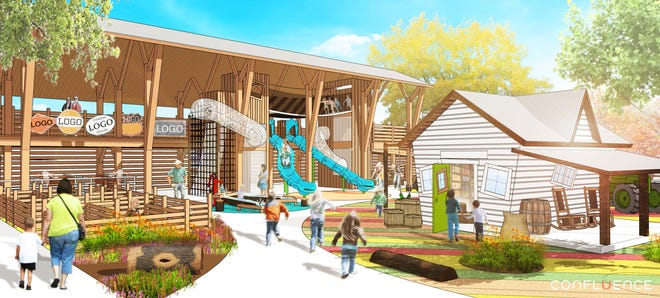 """An artist's rendering shows what the interactive ag experience could look like at Falls Park in Sioux Falls. T. Denny Sanford donated $1.5 for the project, which will be named """"Woster Plaza"""" after Jim Woster."""